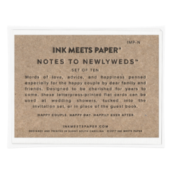 Notes to Newlyweds Set Packaging Back View