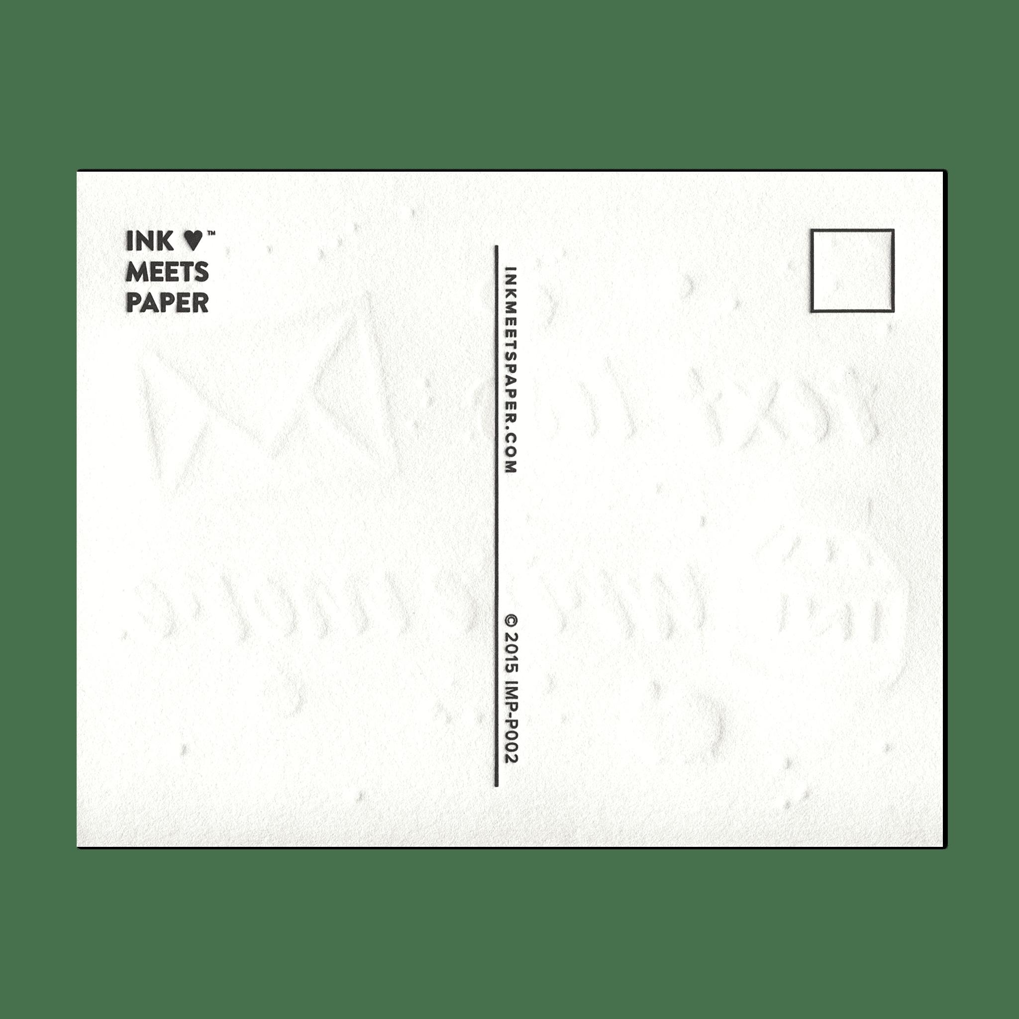 Text Less. Write More. Ink Splat Postcard (back)