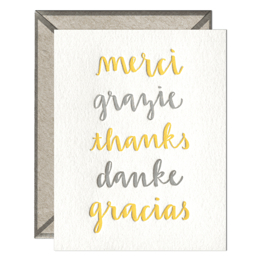 Thank You Languages Letterpress Greeting Card with Envelope