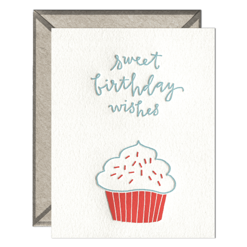 Birthday Cupcake Letterpress Greeting Card with Envelope