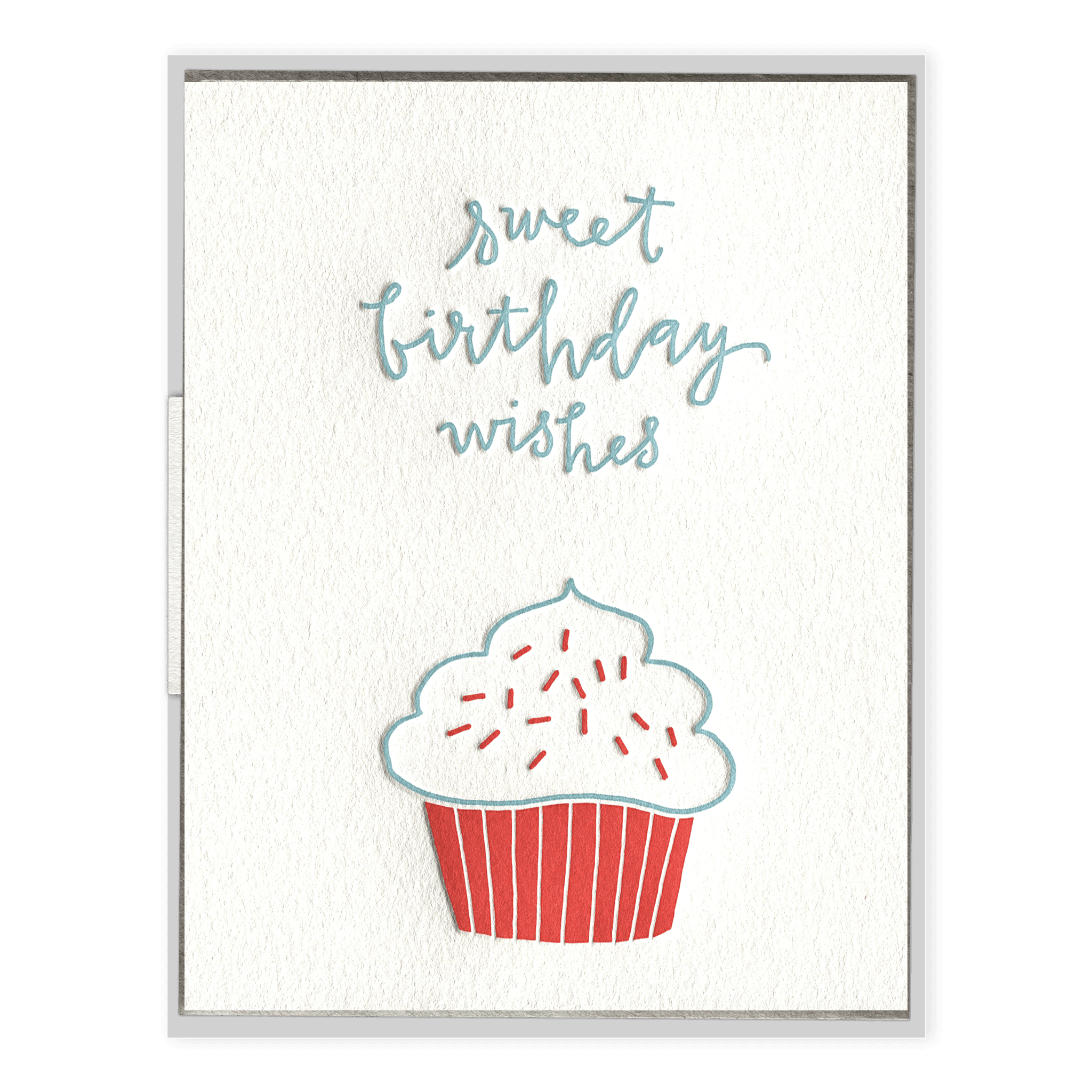 Birthday Cupcake Letterpress Greeting Card