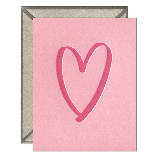 Brushed Heart Letterpress Greeting Card with Envelope