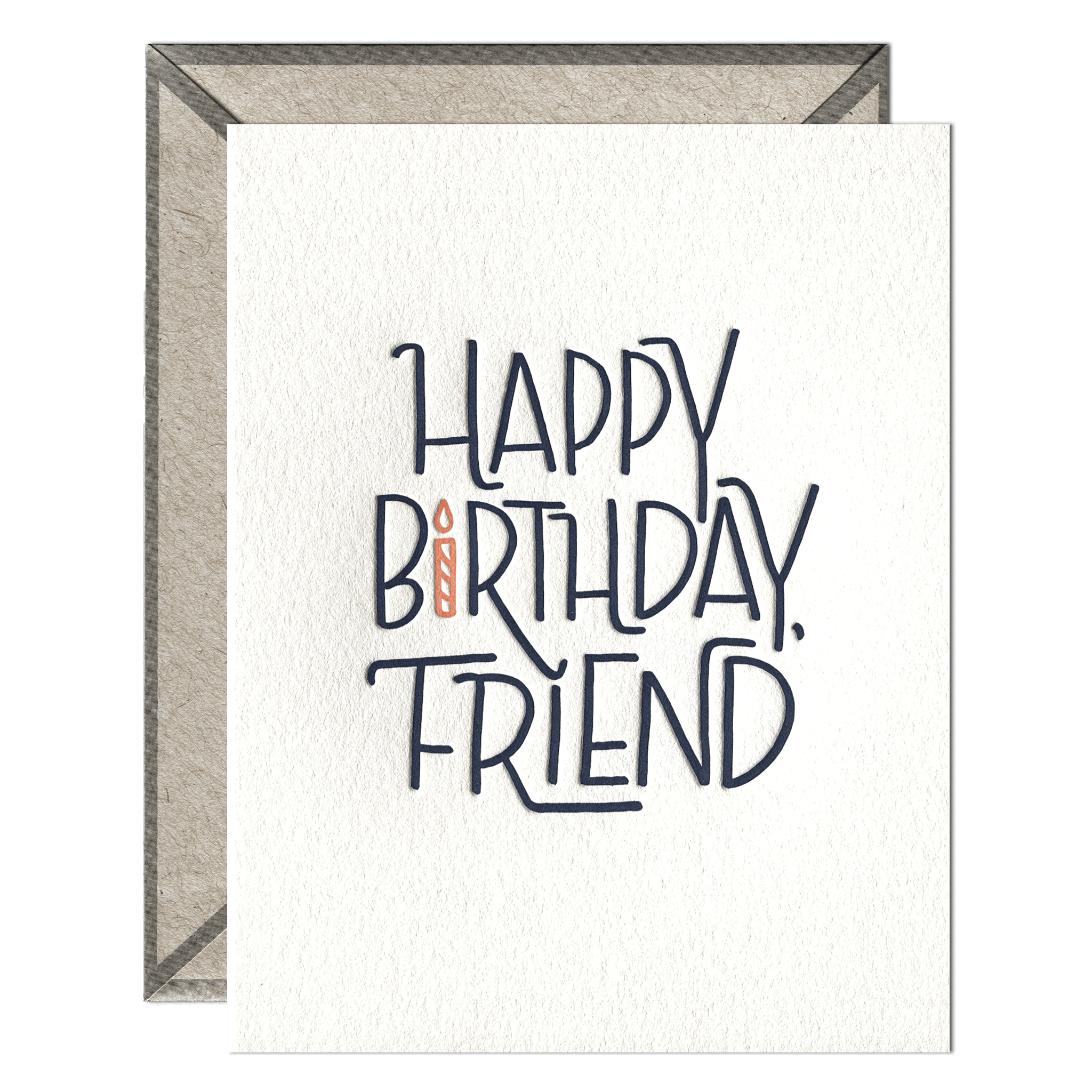 Happy Birthday Friend Letterpress Greeting Card With Envelope