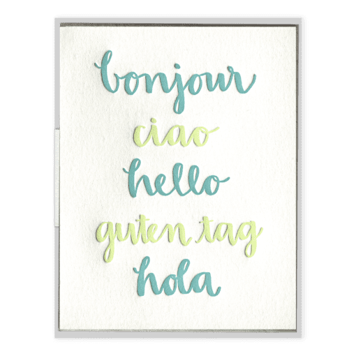 Hello Languages Letterpress Greeting Card