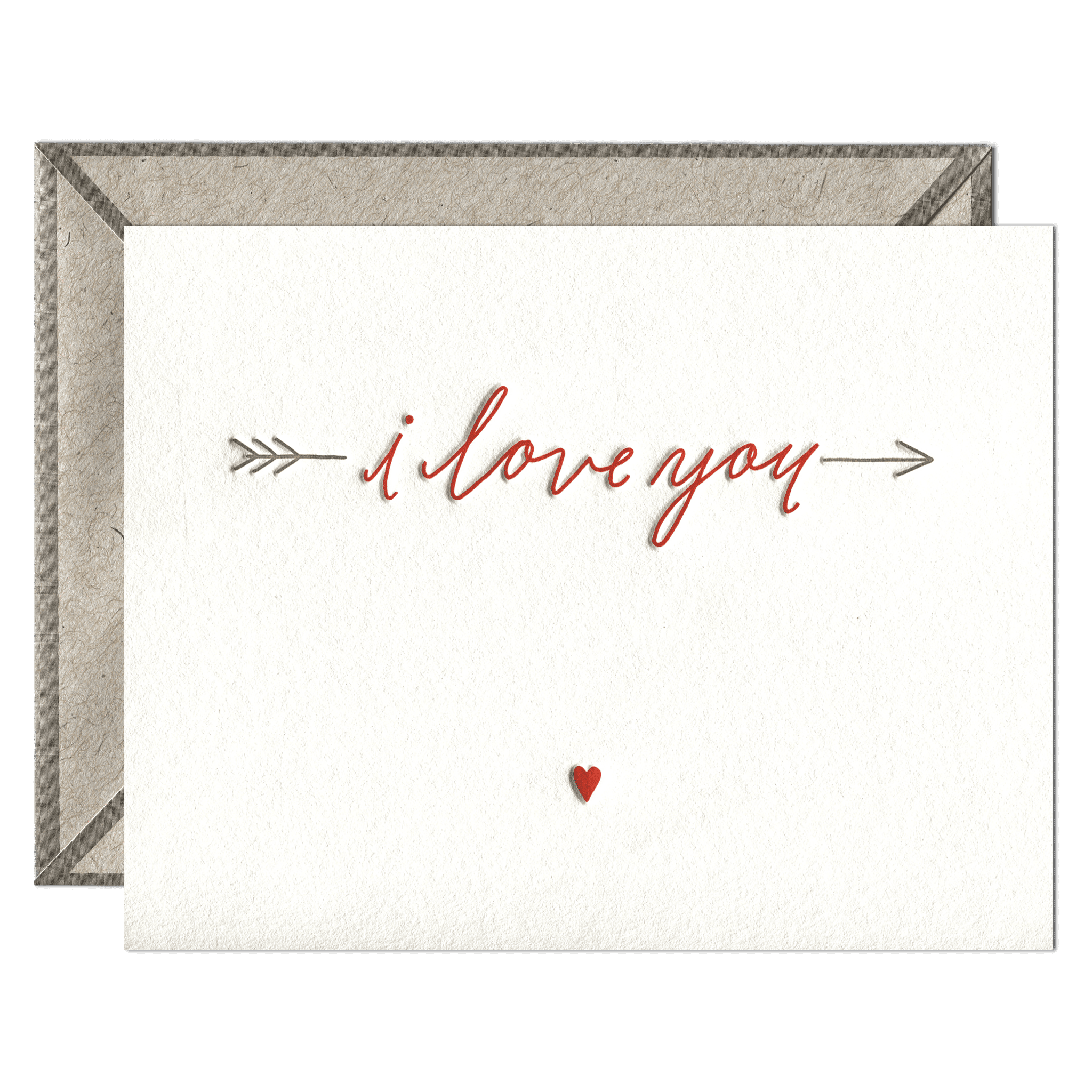 Love You Arrow Letterpress Greeting Card with Envelope