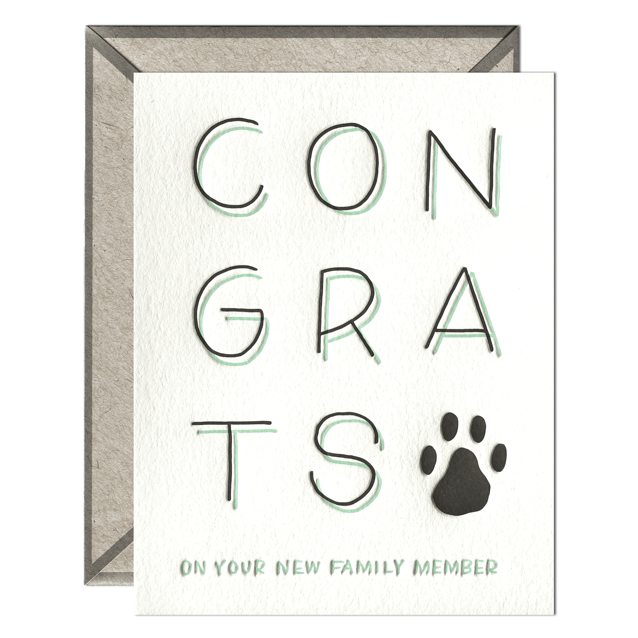 New Pet Congrats Letterpress Greeting Card with Envelope