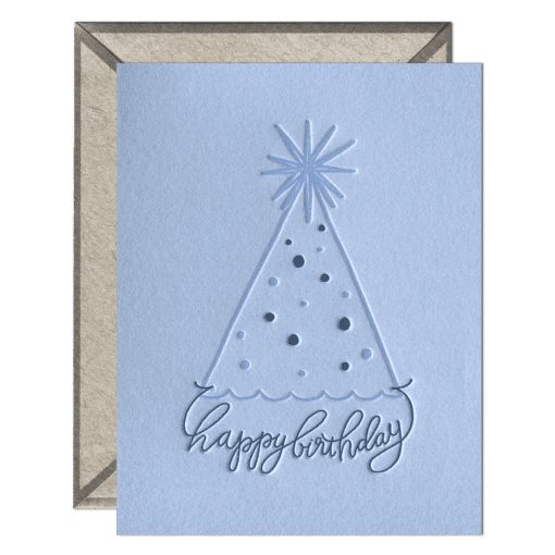 Party Hat Birthday Letterpress Greeting Card with Envelope