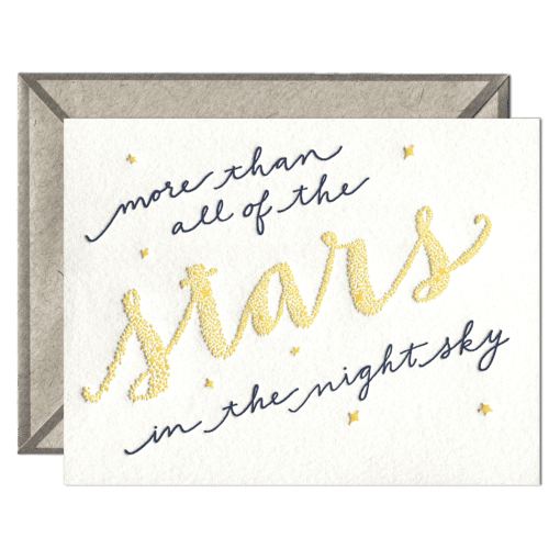 Stars in the Sky Letterpress Greeting Card with Envelope