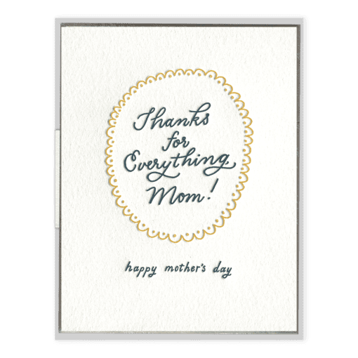 Thanks Mom Letterpress Greeting Card