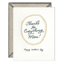 Thanks Mom Letterpress Greeting Card with Envelope