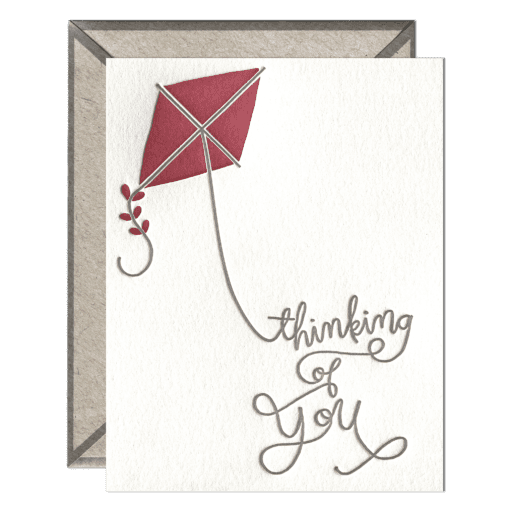 Thinking of You Kite Letterpress Greeting Card with Envelope