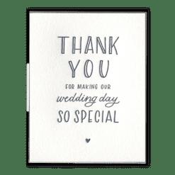 Wedding Day Thank You Letterpress Greeting Card