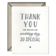 Wedding Day Thank You Letterpress Greeting Card with Envelope