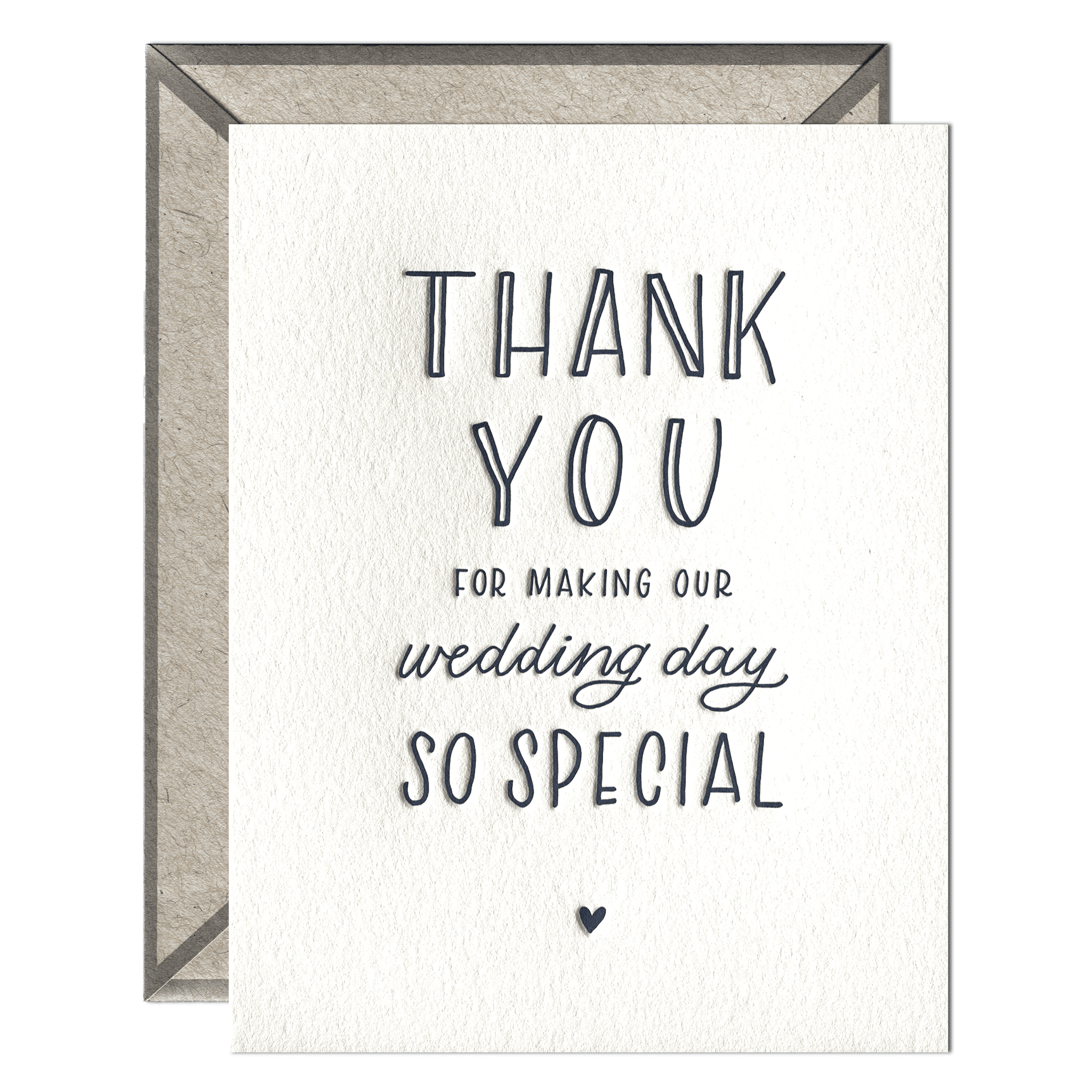 Wedding day thank you wedding wedding day thank you letterpress greeting card with envelope m4hsunfo