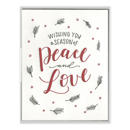 A Season of Peace & Love Letterpress Greeting Card