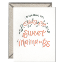 Sweet Mama to Be Letterpress Greeting Card with Envelope