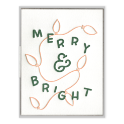 Merry & Bright Lights Letterpress Greeting Card with Envelope