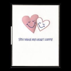 Make My Heart Happy Letterpress Greeting Card