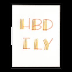 HBD ILY Letterpress Greeting Card