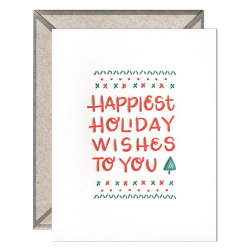 Happiest Holiday Wishes Letterpress Greeting Card with Envelope