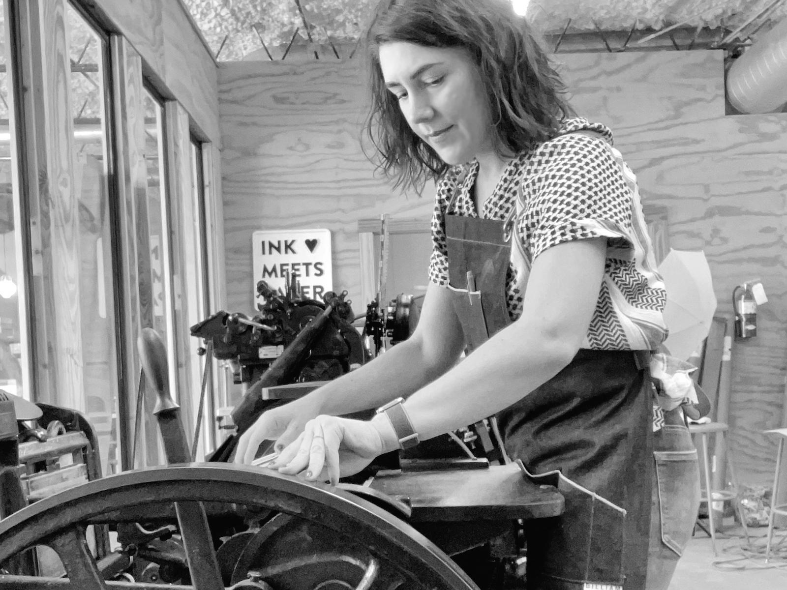 Allison at Printing Press
